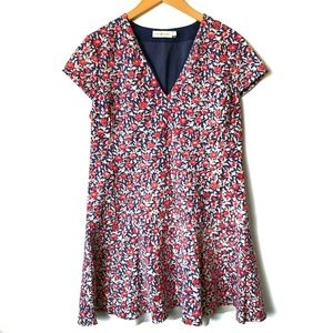 TORY BURCH Fit & Flare Floral Dress Cap Sleeves